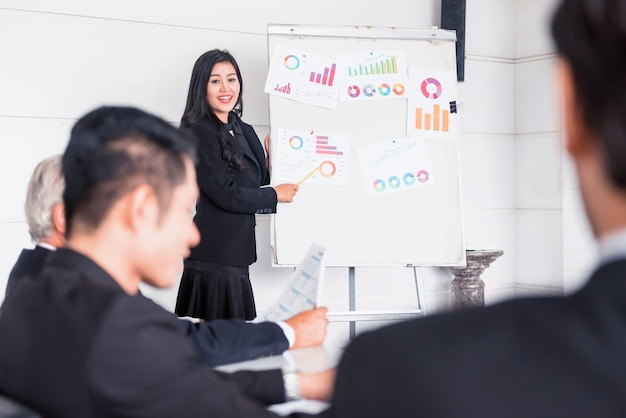 Persönlichkeitsentwicklung, coaching und training für business teamwork. treffen und diskutieren mit kollegen im konferenzraum.