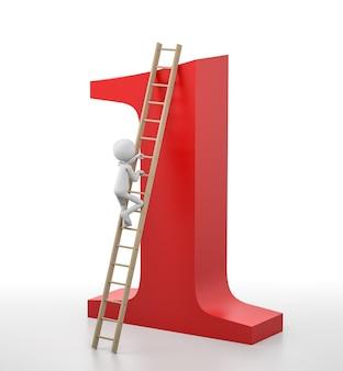 Person 3d klettert auf eine leiter, die an der spitze der nummer eins führt. 3d-rendering-bild