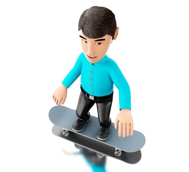 Person 3d mit einem skateboard.