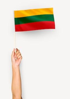 Person, die die flagge der republik von litauen wellenartig bewegt