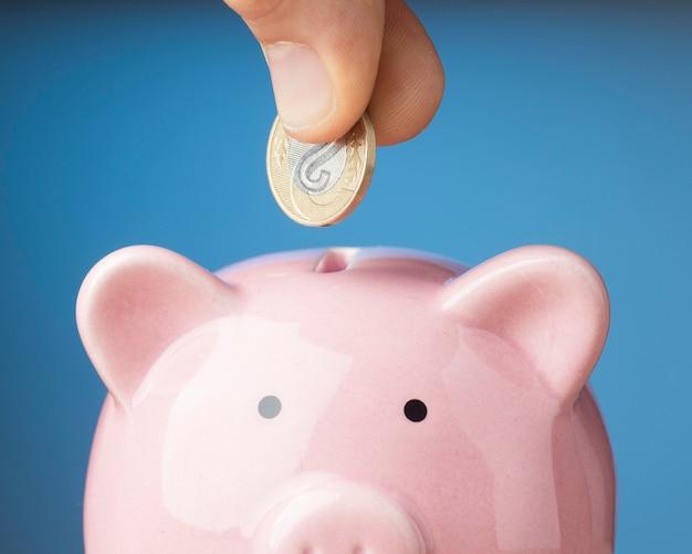 Person, die eine münze in ein sparschwein legt