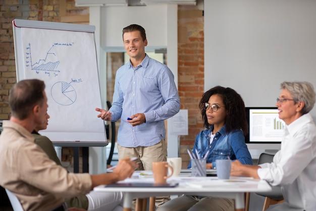 Person, die informationen für ein treffen am whiteboard präsentiert