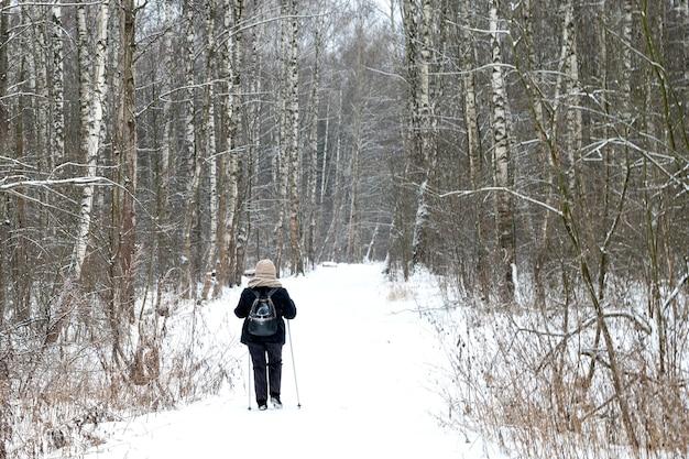 Person, die nordic walking spaziergänge im winterwald bei schneebedecktem wetter tut