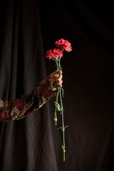 Person, die rote gartennelkenblumen hält