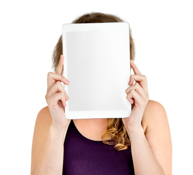 Person, die tablet-gesichts-konzept hält