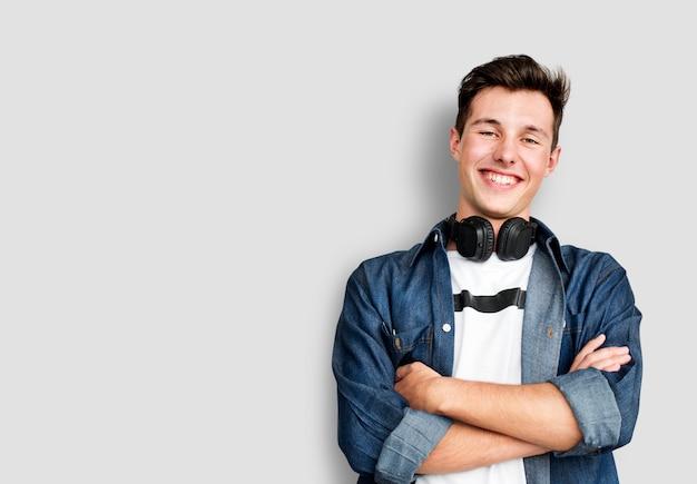 Person listening music headphones-konzept
