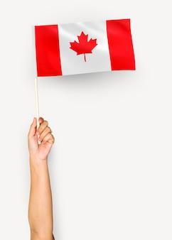 Person winkt die flagge von kanada