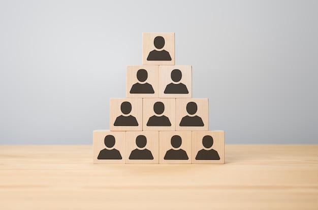 Personalpyramide, human resources und ceo. organisation und teamstruktur mit würfeln. hierarchisches system der mitarbeiter im unternehmen. verteilung der aufgaben und verantwortlichkeiten auf das personal