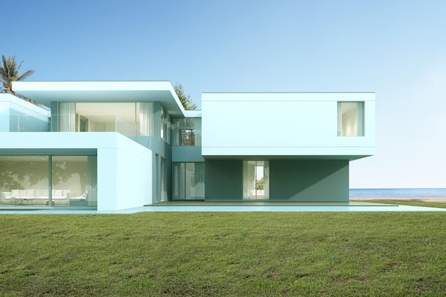 Perspektive des modernen luxushauses mit rasenhof