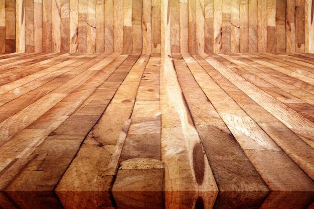 Perspektivenansicht des holzfußbodenhintergrundes der schmutzplanke, beschaffenheit des hölzernen saunaraumes