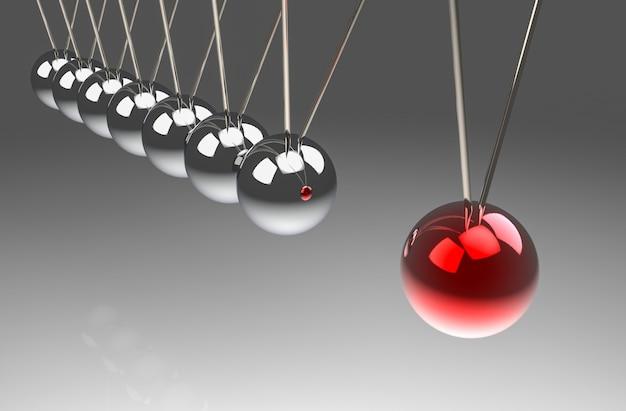 Perspektivenansicht des roten balls schlug eine andere pendelgruppe. eine kraftwirkung auf alle konzepte.