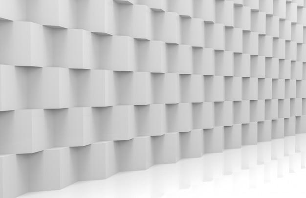 Perspektivische ansicht der abstrakten modernen stapel von zufälligen luxus white cube boxen wand