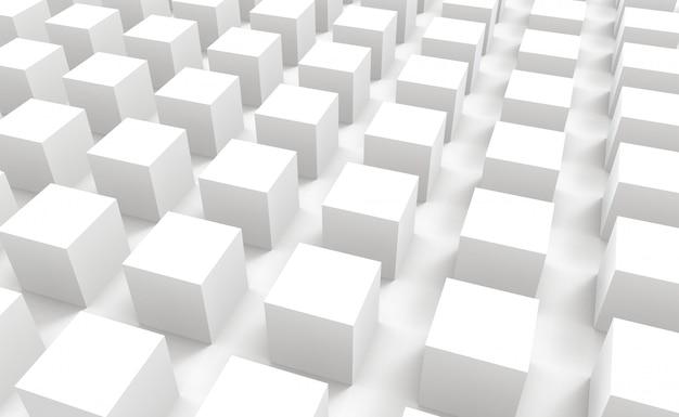 Perspektivische ansicht der modernen abstrakten white square cube box bar stack wand