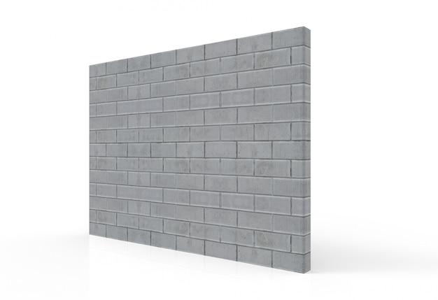 Perspektivische ansicht der strukturierten zementziegelsteinwand mit beschneidungspfad