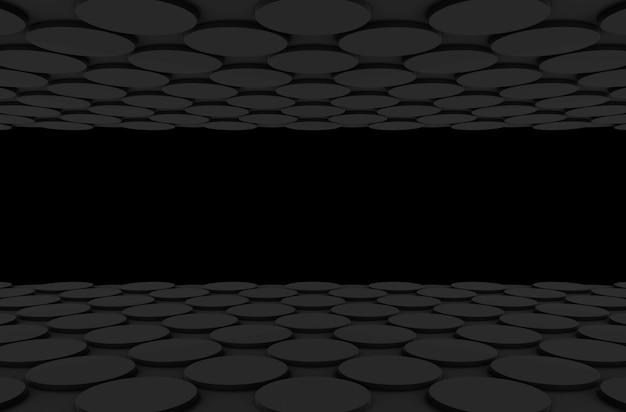Perspektivische ansicht des dunklen kreisförmigen knopfformmuster-designbodens