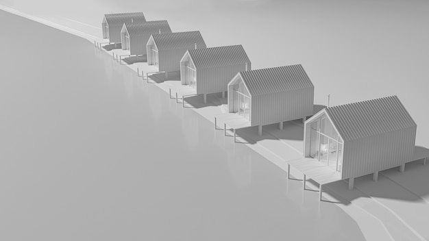 Perspektivische ansicht von oben mehrere ländliche häuser im stil eines scheunenhauses, das in einer linie am see gebaut wurde. konzeptkunst in grautönen mit abendbeleuchtung mit kopierraum