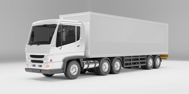 Perspektivische winkelansicht des lieferwagens auf weißem hintergrund des studios. 3d-rendering .