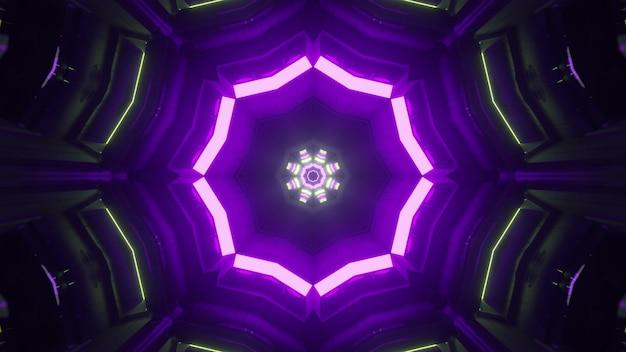 Perspektivischer blick durch den dunklen tunnel der virtuellen welt, der mit fluoreszierenden neonlampen beleuchtet wird, die geometrische ornamente als abstraktes science-fiction-hintergrunddesign in 4k uhd 3d-illustration erzeugen
