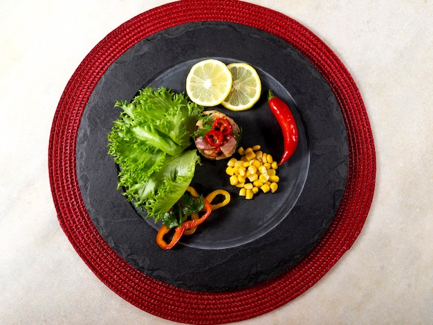 Peruanisches essen ceviche. peruanische küche und meeresfrüchte.