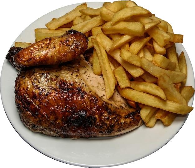 Peruanisches essen pollo a la brasa, pommes frites und brathähnchen