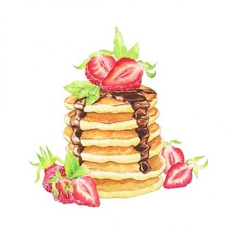 Pfannkuchen dekoriert erdbeeren und schokolade