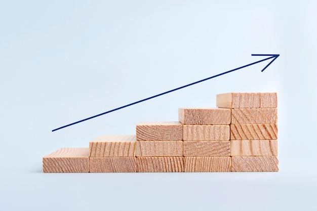 Pfeil nach oben von holzklötzen, die als stufentreppe stapeln. erfolg beim unternehmenswachstum. geldgeschäft und investitionswachstum und bankkonzept. geld für den ruhestand anlegen. inflation und steuererhöhungen.