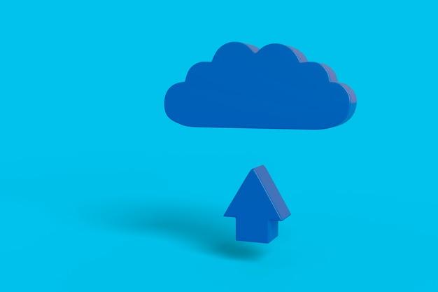 Pfeil zeigt nach oben und eine blaue wolke auf einem hellblauen hintergrund.