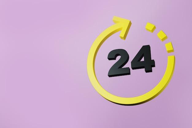 Pfeilsymbol 24 stunden rund um die uhr geöffnet 3d-darstellung