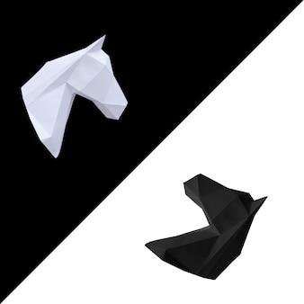 Pferdekopf aus weißem und schwarzem papier