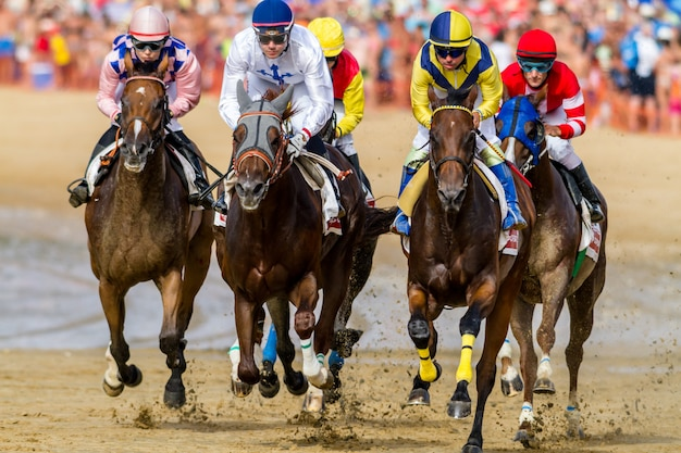 Pferderennen auf sanlúcar in barrameda