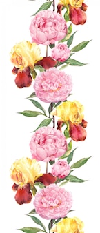 Pfingstrosen- und irisblüten. nahtloser randstreifen. aquarell
