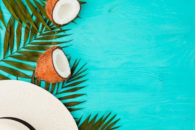 Pflanzenblätter mit frischen kokosnüssen und hut
