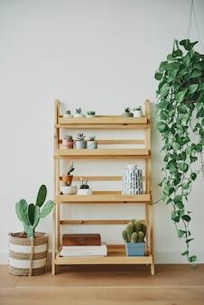 Pflanzenregal aus holz mit gemischten pflanzen