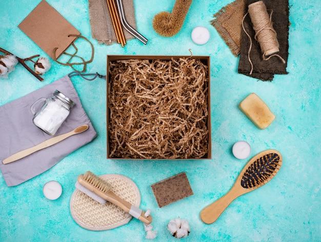 Pflegepaket mit umweltfreundlichem zubehör ohne abfall