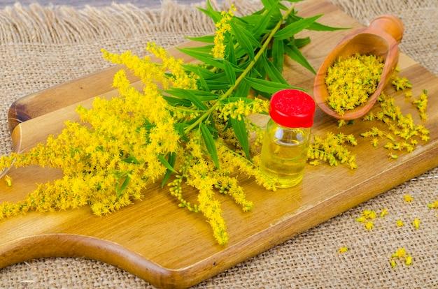 Pharmazeutische tinktur, extrakt aus wildkräutern, medizinische blüten in medizinischen flaschen