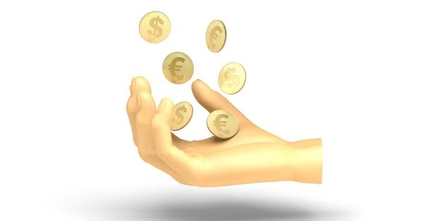 Philanthropie-banner. hand, die münzen hält. wohltätigkeit. spende. 3d-darstellung.