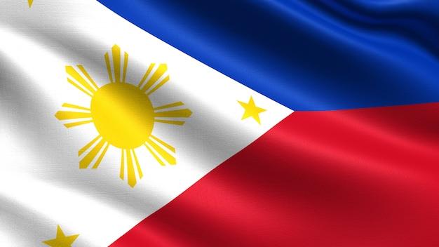 Philippinen flagge, mit wehenden stoff textur