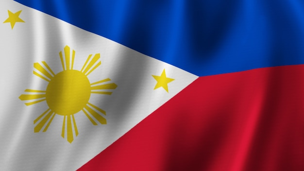 Philippinen-flagge wehende nahaufnahme 3d-rendering mit hochwertigem bild mit stoffstruktur
