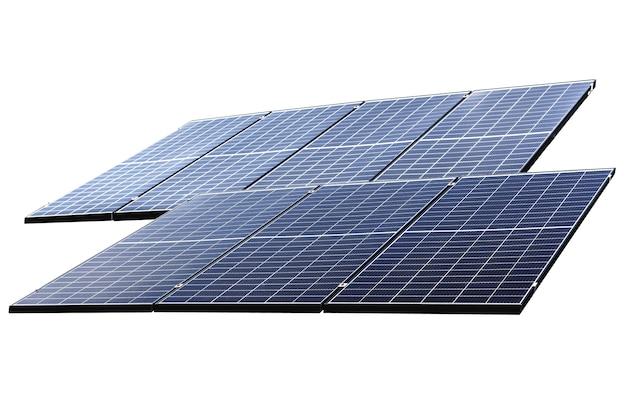 Photovoltaik-solarstrom-panel isoliert auf weißem hintergrund