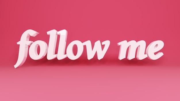Phrase follow me 3d-logo auf hintergrund mit schatten