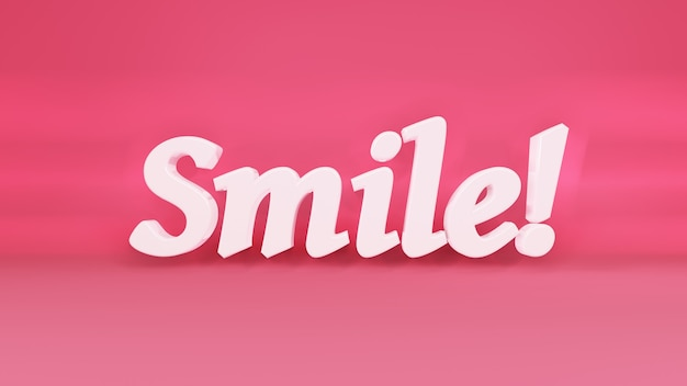 Phrase und ein motivierender slogan lächeln inschrift mit den schatten
