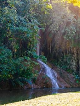 Phu sang wasserfall mit wasser nur in thailand. -36 bis 35 grad celsius wassertemperaturen, die von einem 25 meter hohen kalksteinfelsen ausgehen.