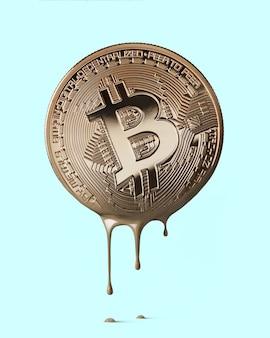 Physisches bitcoin schmilzt zu einer pfütze aus bronzemetall. kryptowährung. geschäfts- und handelskonzept.