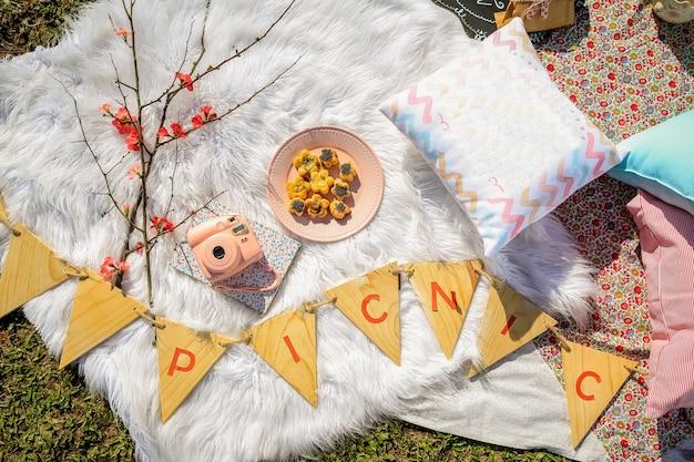 Picknick auf teppich mit kissen und essen im park. vintage kamera, kekse und blumen.