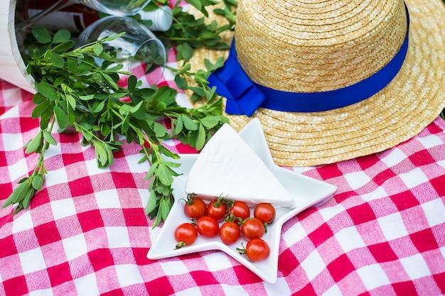 Picknick - hüte, käse und gläser auf tischdecke