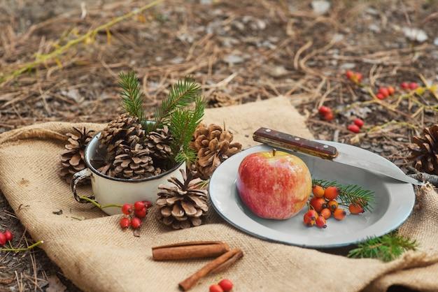 Picknick in einem pinienwald. eine vintage metallschüssel mit einem apfel, rosenbeeren, fichtenzweigen und einem messer auf einer dorftischdecke mit zapfen herum. neujahrs- und weihnachtshintergrund, postkarte