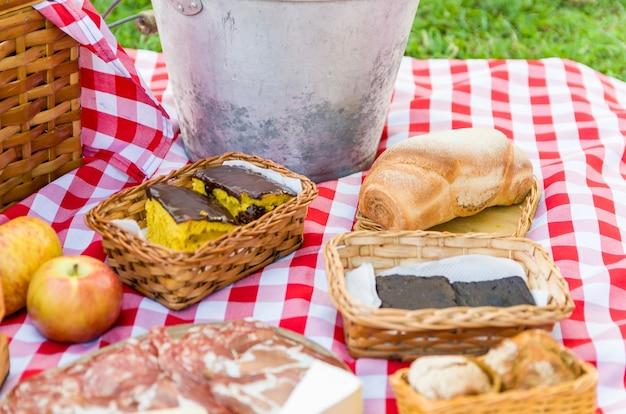 Picknick mit früchten und saft auf grünem rasen