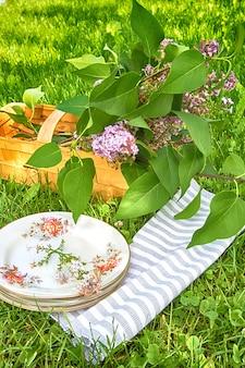 Picknick mit teebackbuch auf einem plaid in einem park auf einem reisefeiertagskonzept des grünen grases