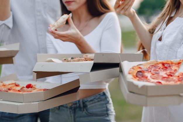 Picknickfreunde mit pizza und getränken, sonniger tag, sonnenuntergang, gesellschaft, spaß, paare und mutter mit baby
