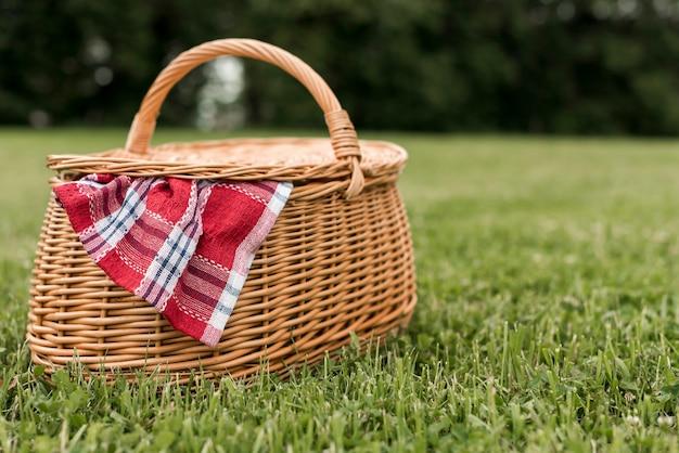 Picknickkorb auf parkgras